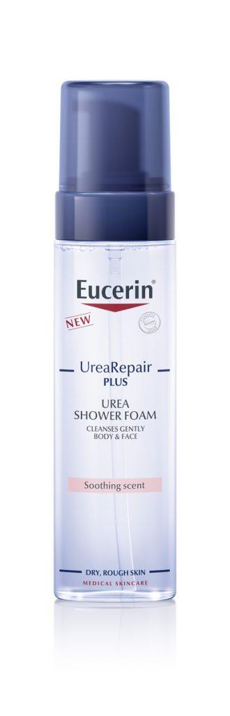 Eucerin UreaRepair PLUS illatosított tusfürdőhab, ami tartalmazza a gyulladáscsökkentő hatású illatanyagot.